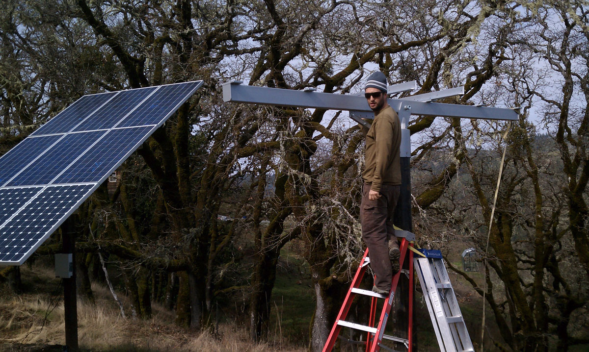 Salmon Creek, CA: Matty, adding more solar to an off-grid home.