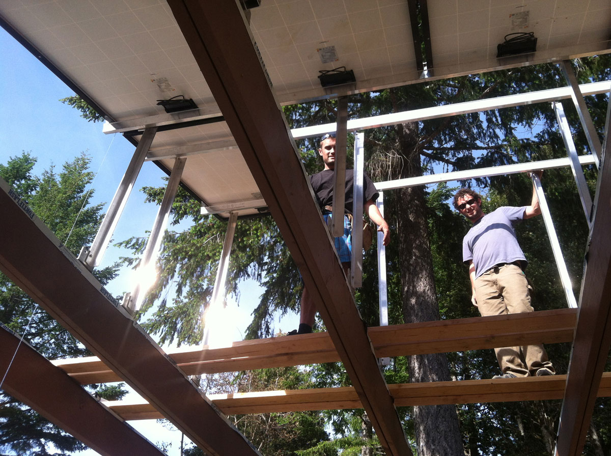 Laytonville, CA: Installing a custom solar shade structure - providing power to the homestead while creating a comfortable shaded patio.